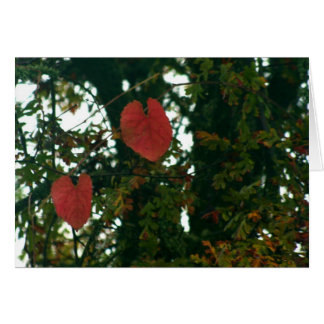 Red Heart Leaves Greeting Card