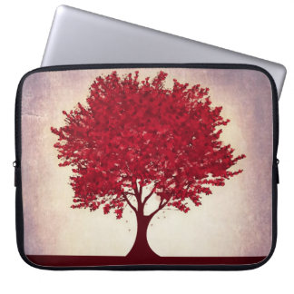 Red heart leaves tree laptop sleeve