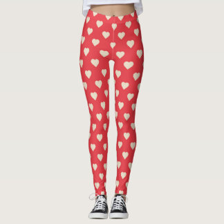 Leggings - Red Heart Leggings Valentines day leggings, Hearts in Pink, Purple & Red, Candy Hearts