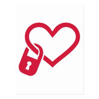 Red heart lock postcard