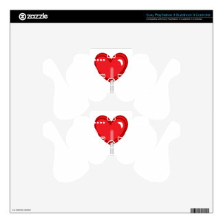 red heart lollipop decal for PS3 controller