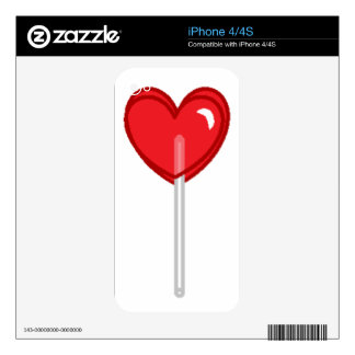 red heart lollipop decals for iPhone 4
