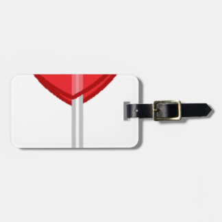 red heart lollipop luggage tag