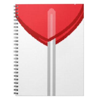 red heart lollipop notebook