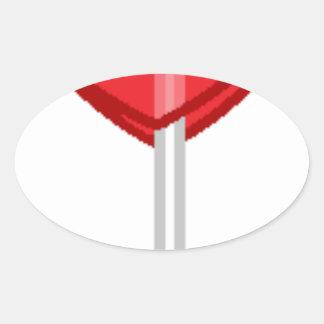 red heart lollipop oval sticker