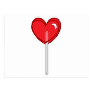 red heart lollipop postcard