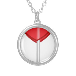 red heart lollipop silver plated necklace