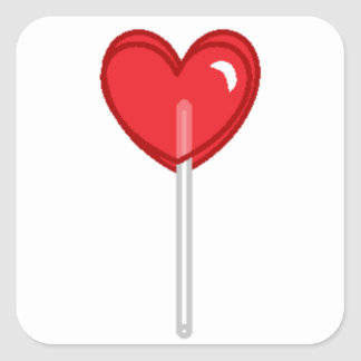 red heart lollipop square sticker