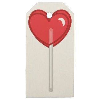 red heart lollipop wooden gift tags