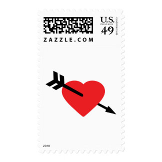 Red Heart Love Amor Arrow Postage Stamp