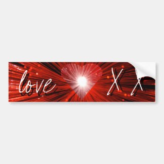 Red Heart 'love and kisses' bumper sticker
