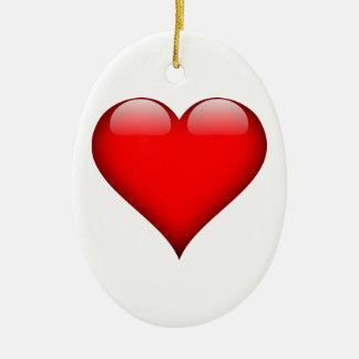 Red Heart Love Ceramic Ornament