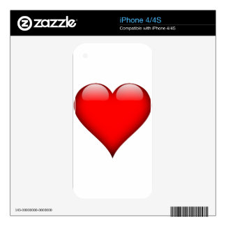 Red Heart Love iPhone 4 Decals
