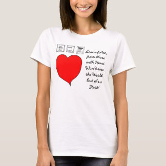 Red heart Love message with text T-Shirt