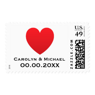 Red heart love modern wedding or Save the Date Postage