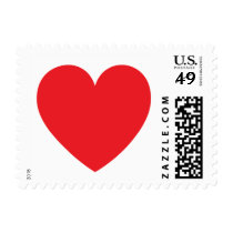 Red heart love or Valentines day postage stamp