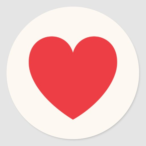 Red heart love or Valentines day Classic Round Sticker