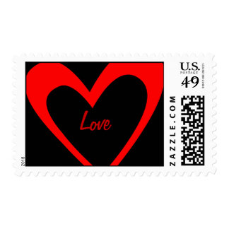 Red Heart Love Postage Stamp