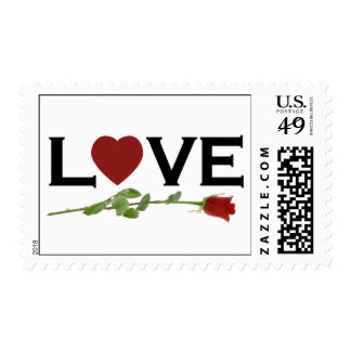 Red Heart Love Postage Stamps