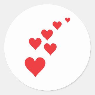 Red Heart Love Rain - Valentine�s Day Round Stickers