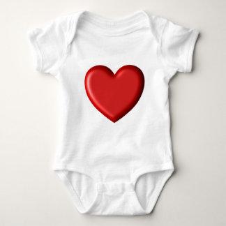 Red Heart Love  Romantic Puffy Heart 3D Baby Bodysuit