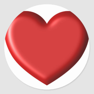 Red Heart Love  Romantic Puffy Heart 3D Classic Round Sticker