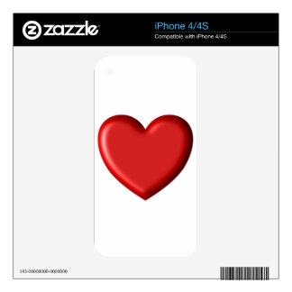 Red Heart Love  Romantic Puffy Heart 3D Skin For iPhone 4S