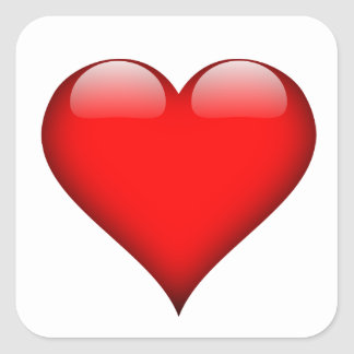 Red Heart Love Square Sticker
