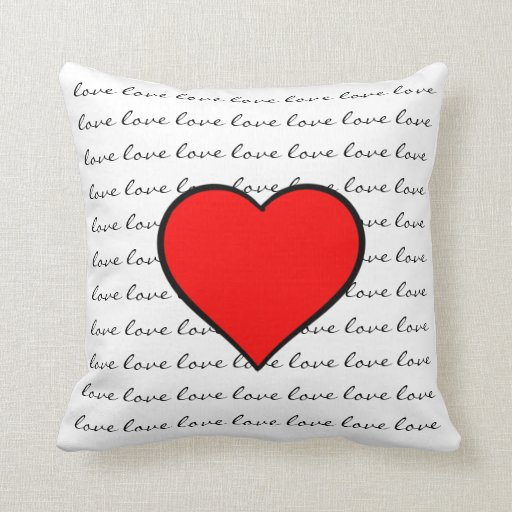 Red Heart Decorative Pillow : Red Heart Love Throw Pillow Zazzle