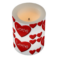 Red heart love Valentine's day LED candle