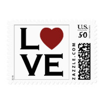 Red Heart Love Wedding Postage Stamps