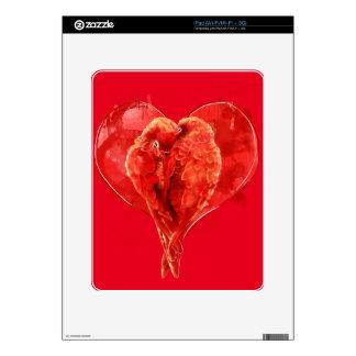 Red heart. Loving parrots. iPad Skin