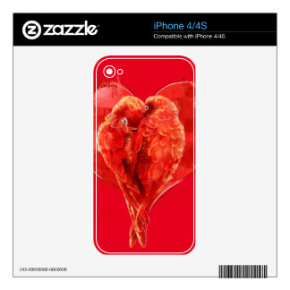 Red heart. Loving parrots. iPhone 4 Skin