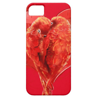 Red heart. Loving parrots iPhone SE/5/5s Case