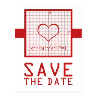Red Heart Math Graph Save the Date Postcard