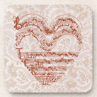 Red Heart Medieval Music Pale Pink Floral Coaster