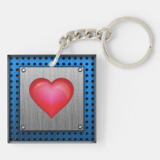 Red Heart; metal-look Keychain