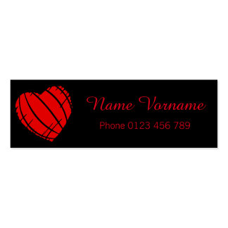 red heart mini business card