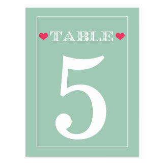 Red Heart Mint Green Wedding Table Number Cards Postcards