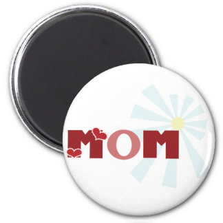 Red Heart Mom 2 Inch Round Magnet