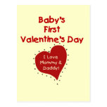 Red Heart Mommy and Daddy Valentine Postcard
