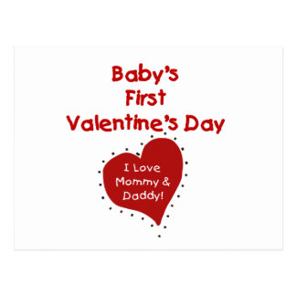 Red Heart Mommy and Daddy Valentine Post Card