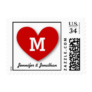 RED HEART Monogram and Names Wedding V01 Postage