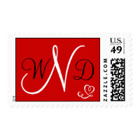 Red Heart Monogram Initials Postage