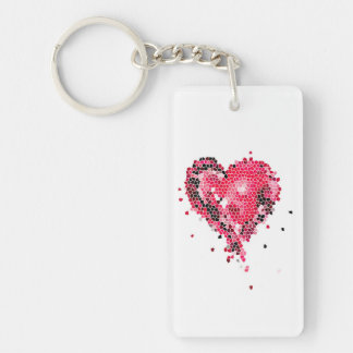 Red Heart Mosaic Keychain