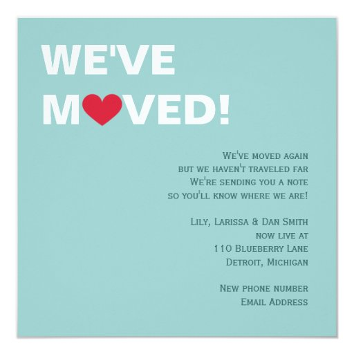 Red Heart Moving Invitation