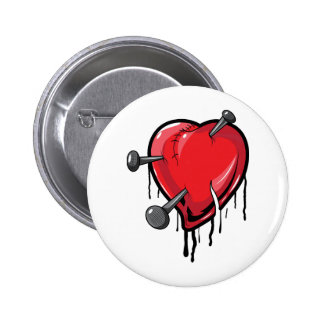 Red Heart Nails Love Hearts Button