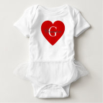 Red Heart Name Initial Monogram Baby Bodysuit