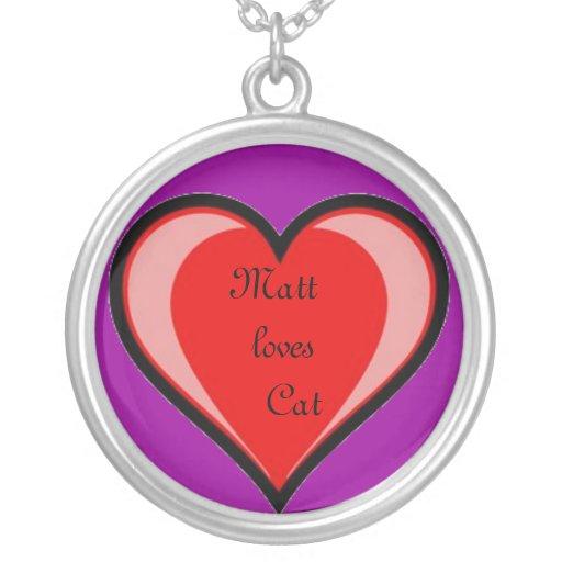 Red Heart Neckalce Round Pendant Necklace