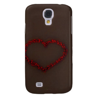 Red Heart of berries Coco brown  background Samsung S4 Case